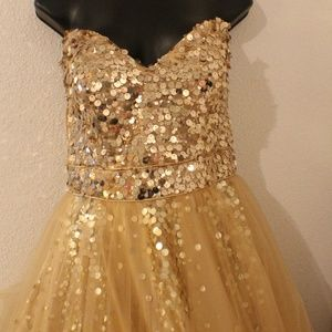 Night Moves Collection Gold Sequin Prom Dress